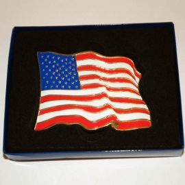 Belt Buckle - United States USA Flag with gold
