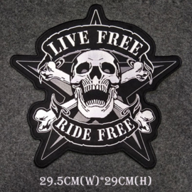 BackPatch - Live Free - Ride Free - Skull - EXTRA-LARGE