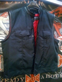 Black Cordura Vest - Cut Off - SOA - High Mandarin Leather Neck