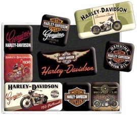 Harley-Davidson magnet set - Old Skool Bikes & Logos / NEW