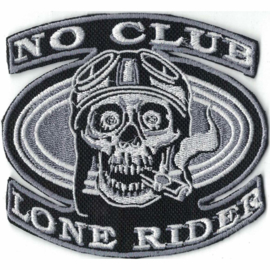 silver PATCH - NO CLUB - LONE RIDER - bikerskull with helmet and cigar