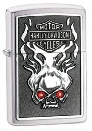 Harley-Davidson Zippo - Red Swarovski Crystal Eyes Skull