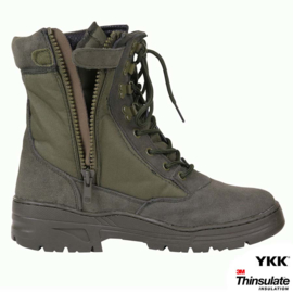 Sniper/Combat Boots - Army Green - Leather DeLuxe (Zipper)
