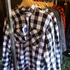 Protective LumberJack Shirt - White Black Checker - 100% Full Kevlar