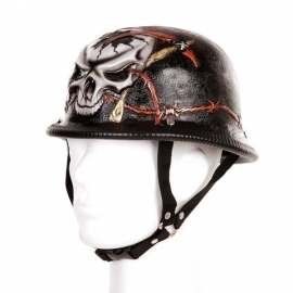 German Helmet, 3D - Barbed Wire & Skull