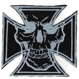 Patch - Maltese Cross & Skull - SILVER / GREY