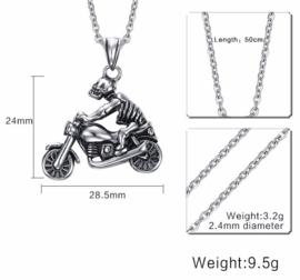 Skeleton Biker - Stainless Steel Pendant