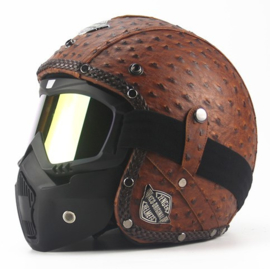 Leather Ostrich Helmet (Size 57-59) - Brown