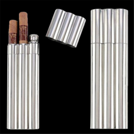 Stainless steel flask &  Double cigar holder