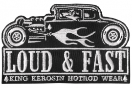 179 - WHITE PATCH - Hotrod with flames - LOUD & FAST - King Kerosin HotRod Wear