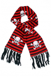 Rock Daddy - Skull Striped Scarf - Black/Red - Shawl