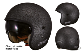 TORX  HARRY HELMET - CHARCOAL matte metal flake - ECE - Small Shell!