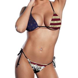 USA Skulls Flag Bikini - One Easy Size
