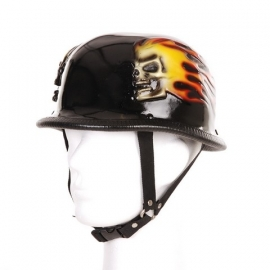 German Helmet, 3D - Flames & Skull
