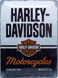 Harley-Davidson - Large Tin Sign - Black & White H-D