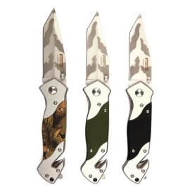Grip Knife + Clip - 11cm blade - Black, Green or Camouflage