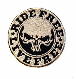 238 - Patch - Ride Free * Live Free (golden skull)
