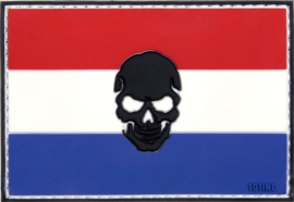 PVC & VELCRO PATCH - Dutch flag with skull - Nederlandse vlag - Holland - the Netherlands