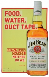 3D Metal Plate - Jim Beam - Food. Water. Duct Tape.