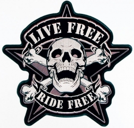 PATCH - Star design - Skull with crossed bones - LIVE FREE RIDE * RIDE FREE