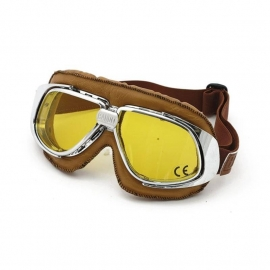 Bandit - Classic Goggles - Silver & brown leather - Yellow Lens