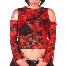 See Through LongSleeve - Queen of Darkness - Red/Black