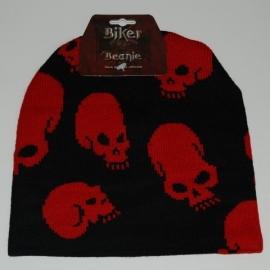 Beanie - Red Skulls