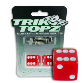 License Plate Mounts - Red Dice - TrikTopz - Bolts/Nuts