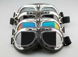 Motorbril - Red Baron style - Chrome / Smoke