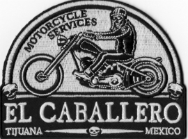 Patch - WHITE - El Caballero - Motorcycle Service - Tijuana