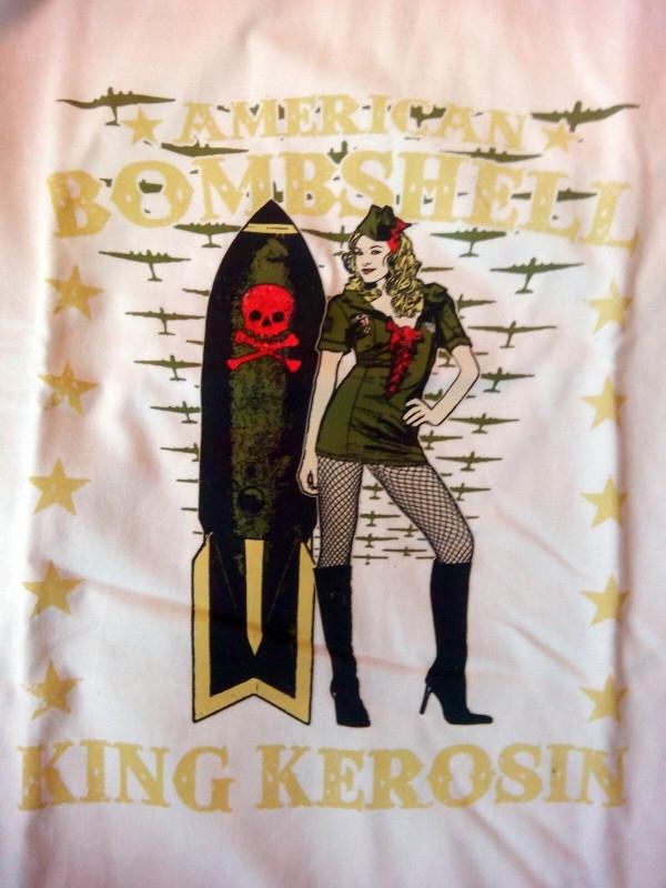 King Kerosin - American Bombshell - Army Pin up - White T-shirt