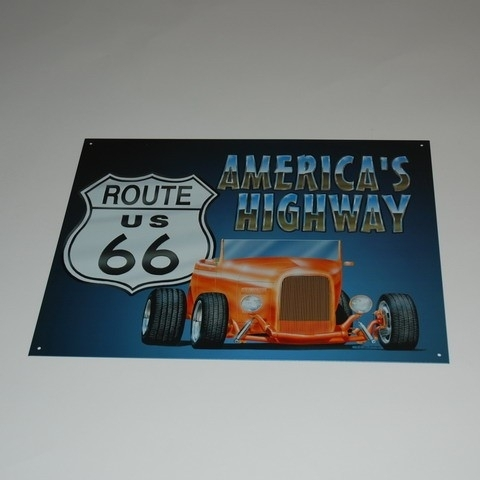 Large Metal Plate - Route 66 Highway Hot Rod