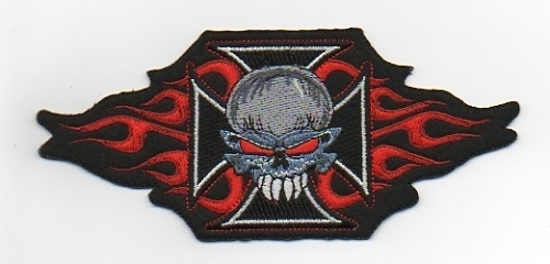 019 - Patch - Skull with Iron Cross and Flames - Biker Patch - Medium Size