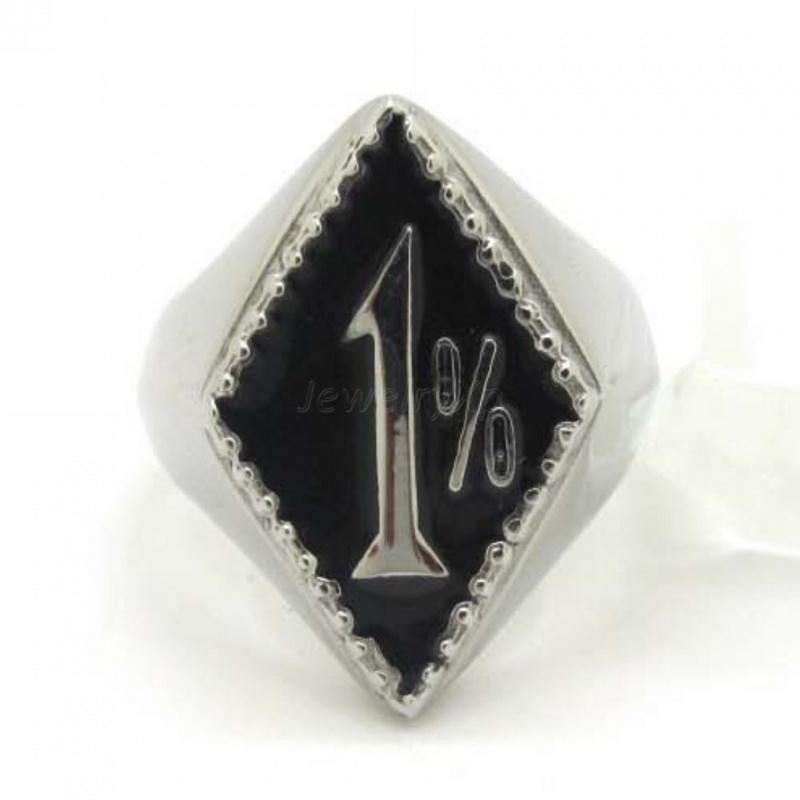 1% - One Percenter Ring - Black & Silver