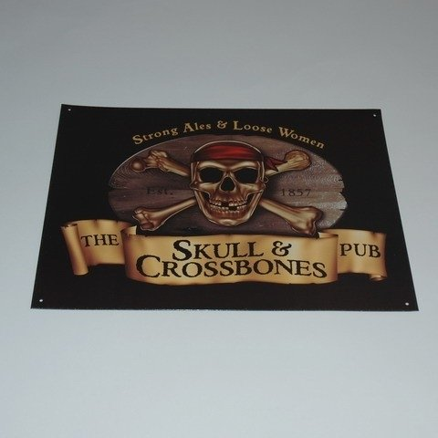 Large Metal Plate - Skull and Crossbones Pub - Strong Ales and Loose Women