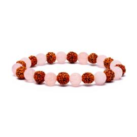 Armband rudhrakasha / rozenkwarts elastisch