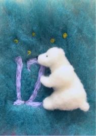 Het Wol Feetje - Ansichtkaart Cijfer 11 ijsbeer