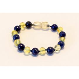 Barnsteen armbandje baby/peuter lemon met lapis lazuli