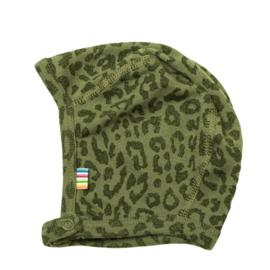Joha wollen mutsje met drukknoop groen luipaard