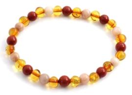 Barnsteen armbandje voor volwassenen honey met zonnesteen en rode jaspis  en extra lengte