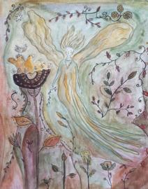 Regien Kos - Ansichtkaart Deva tussen de bloemen