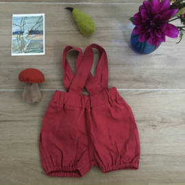 Simply Grey Kids linnen bubble shorts met bretels raspberry