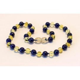 Barnsteen ketting kind lemon met lapis lazuli