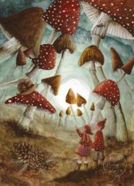 Bijdehansje - Ansichtkaart Paddestoelen Wonderland