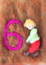 Het Wol Feetje - Ansichtkaart Cijfer 6 jongen