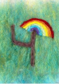 Het Wol Feetje - Ansichtkaart Cijfer 4 regenboog