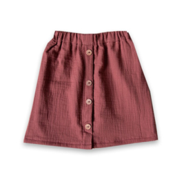 Siemz Cotton gauze dark pink button skirt