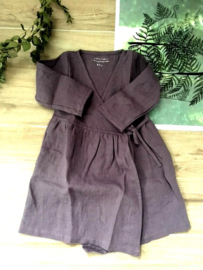 Simply Grey Kids linnen overslagjurk dusty purple, 5-6 jaar