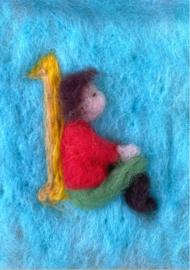 Het Wol Feetje - Ansichtkaart Cijfer 1 kind