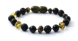 Barnsteen armbandje kind olive met obsidiaan en lava